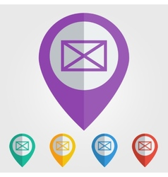 Flat pin with mail icon vector