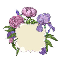 Frame cover greeting card with beautiful flowers vector