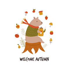 funny bear in a scarf and sweater with teapot vector image