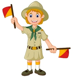 Funny scout girl cartoon playing semaphore vector