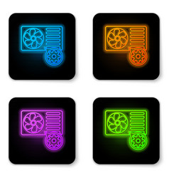 glowing neon air conditioner and gear icon vector image