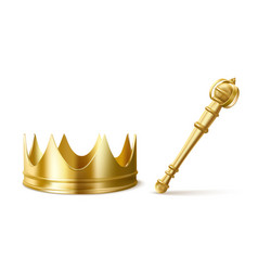 gold royal crown and scepter for king or queen vector image