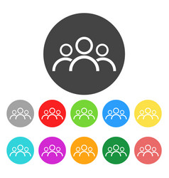 Group people icon color flat vector