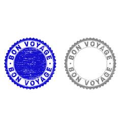 Grunge bon voyage scratched watermarks vector