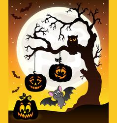 Halloween tree silhouette theme 6 vector