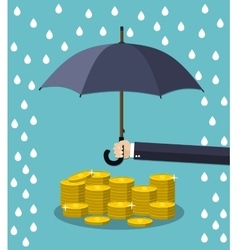 Hand holding umbrella under rain vector image
