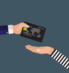 hand victim giving a credit card to robber vector image