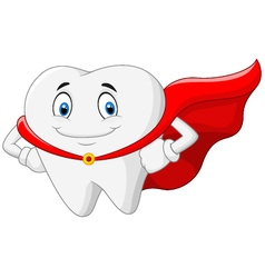 Happy superhero healthy tooth vector