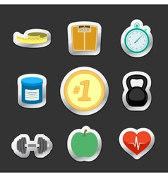 Healthy fitness lifestyle stickers vector image