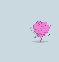 Human brain having fun relaxation concept pink vector