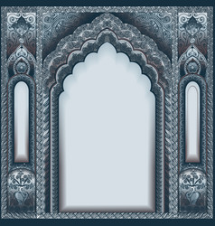 indian ornamented arch color silver vector image