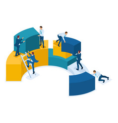 Isometric data collection for analytics employees vector