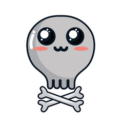 Kawaii cute tender skull with bones vector