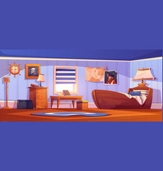 kids bedroom interior in pirate thematic vector image
