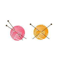 knit logo or label ball of yarn with knitting vector image