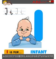 Letter i worksheet with cartoon infant vector