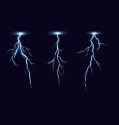 lightning bolts realistic set vector image