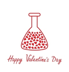 Love laboratory glass with hearts inside Thin vector