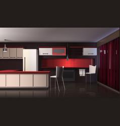 luxury modern kitchen interior vector image