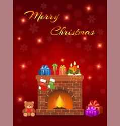 merry christmas greeting card design with vector image