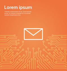 message envelope icon over computer chip vector image