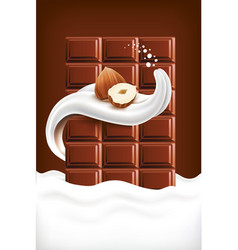 milk splash tongue with hazelnut and chocolate vector image
