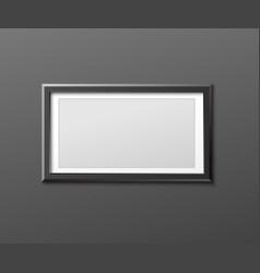Mockup photo frame hanging horizontally realistic vector