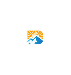 mountain sun nature logo vector image