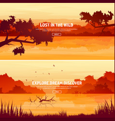 mountains with forest and lake river trees vector image