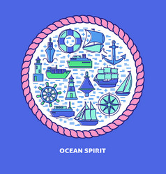 ocean spirit round concept banner with ship icons vector image