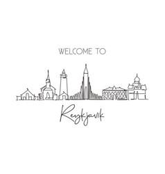 one single line drawing reykjavik city skyline vector image