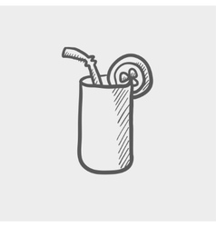 Orange jiuce glass with drinking straw sketch icon vector image vector image