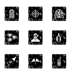 Paintball icons set grunge style vector