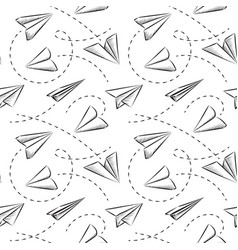 Paper plane seamless pattern vector