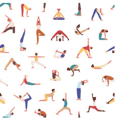 people practicing yoga seamless pattern vector image