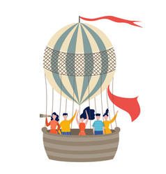 people traveling hot air balloon flat vector image