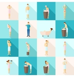 Personal Hygiene Flat Icons Set vector image