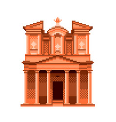 pixel jordan petra temple wonders of the world vector image