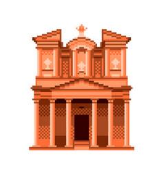 pixel jordan petra temple wonders world vector image