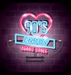 Poster nineties enjoy retro style neon light vector