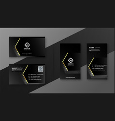 Professional dark black business card with golden vector