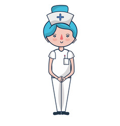 Professional nurse with hat in the head vector