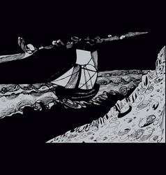 sailing ship at sea hand-drawn abstract black and vector image
