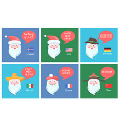 Santa clauses from all over world festive posters vector