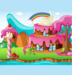 scene with cakehouse and rainbow vector image