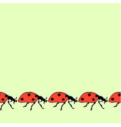 Seamless decorative border from running ladybugs vector