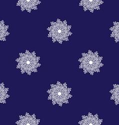 seamless mosaic pattern white snowflakes vector image