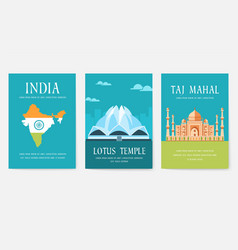 Set india country ornament travel tour concept vector