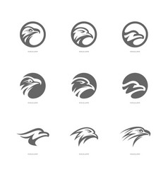 set of eagle logo design template head eagle vector image