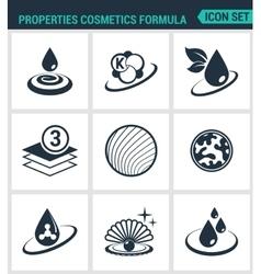 Set of modern icons Properties cosmetics vector image